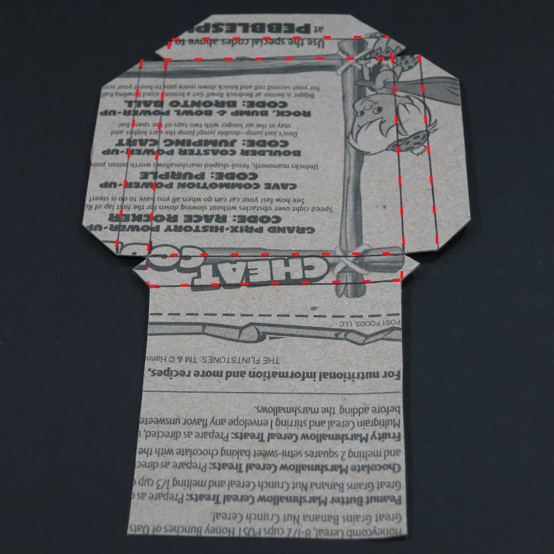 Fold lines marked on back of cutout