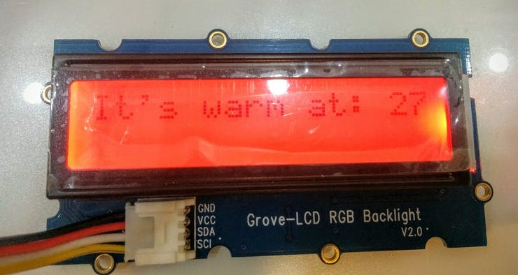 """Color changes to Red and the message showed is: """" It's warm at: """""""