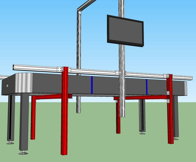 "Start by joining together two 35"" leg beams with one 54"" crossbeam to form an H-shaped assembly (red)."