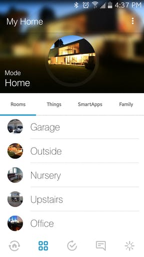 SmartThings controls our lights and state of the house based on room occupancy