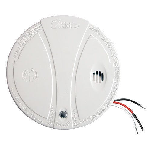 This is a standard Smoke detector, sold by Kidde. The back and white wires are connected to AC line and the red one is a 9v DC signal used to daisy-chain multiple detectors.