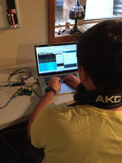 Mike building both the UHF sending and receiving platfrom