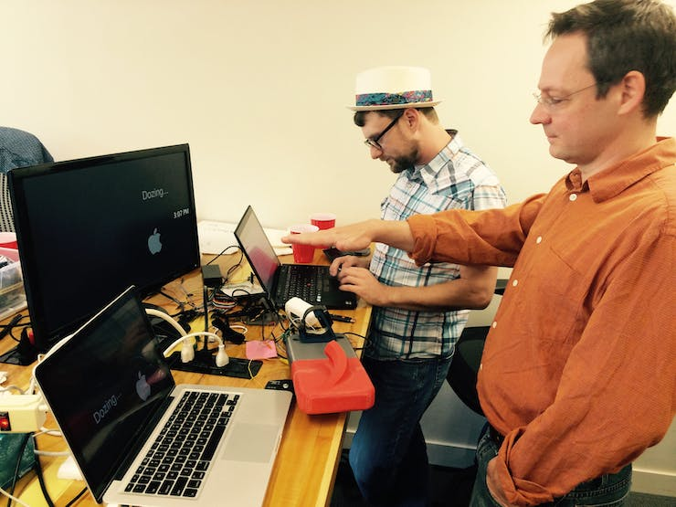 David and Jeremy testing the code and settings for the ultrasonic range finder.