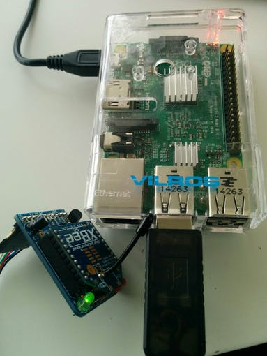 Other end of FTDI cable connected to PI