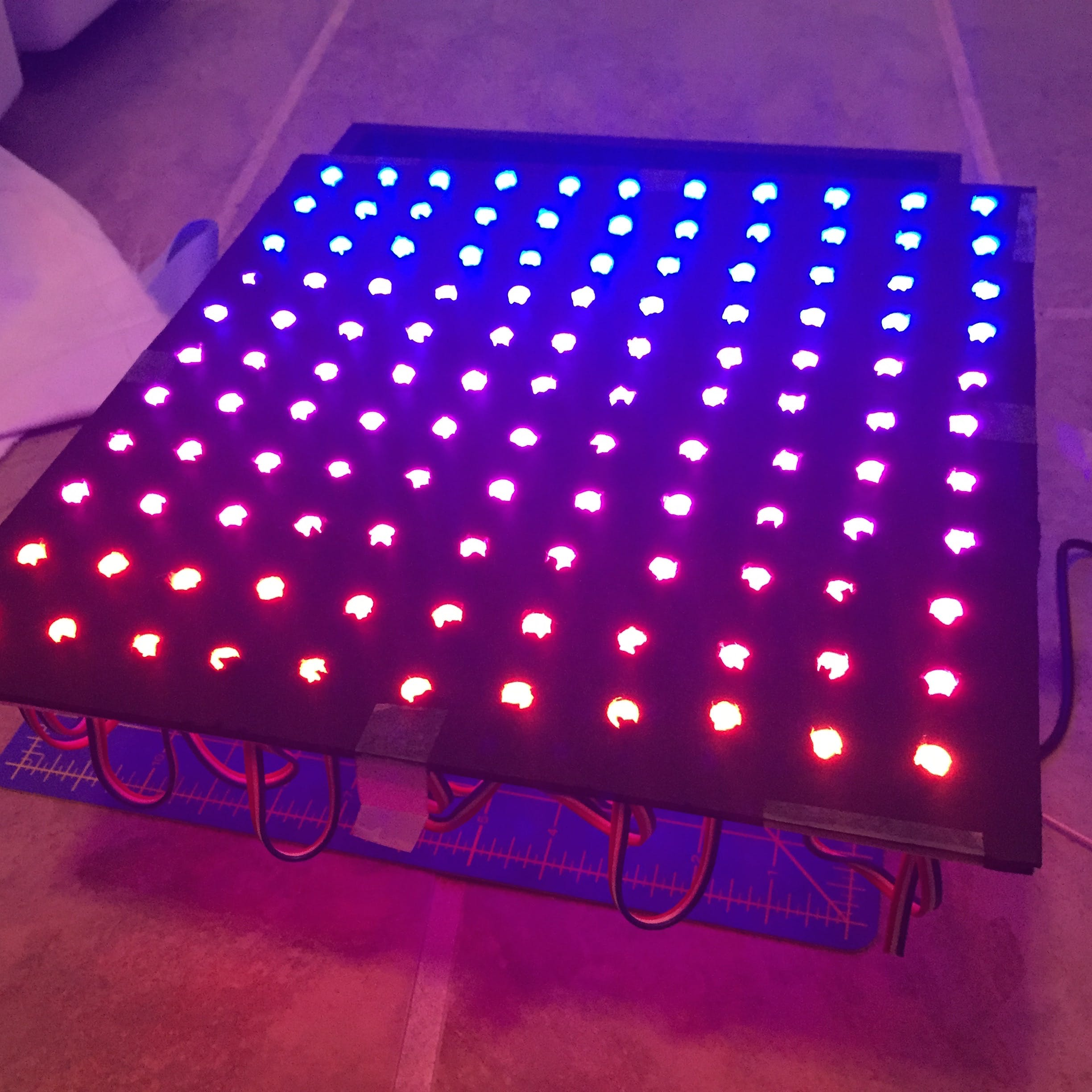 LEDs poking through the foamboard