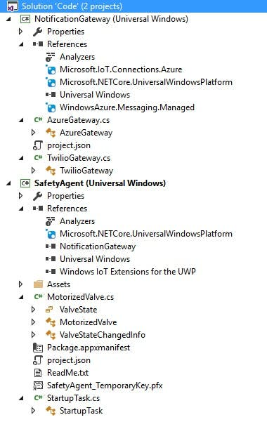 SafetyAgent is the EXE, while NotificationGateway is a DLL containing two notification channels (Azure Notification hub and Twilio SMS)