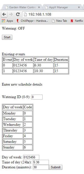 Simple web page for setting the schedule or manual override.