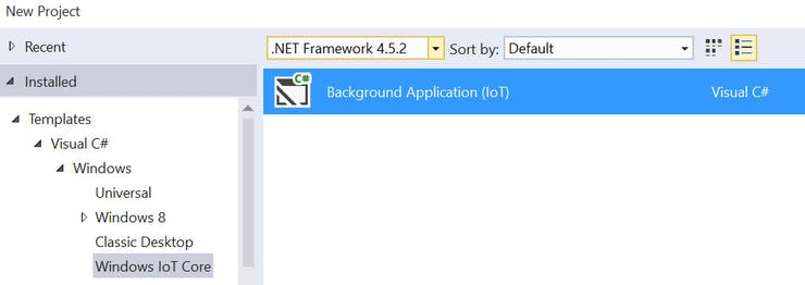 Visual Studio 2015 - Windows IoT Core Background Application