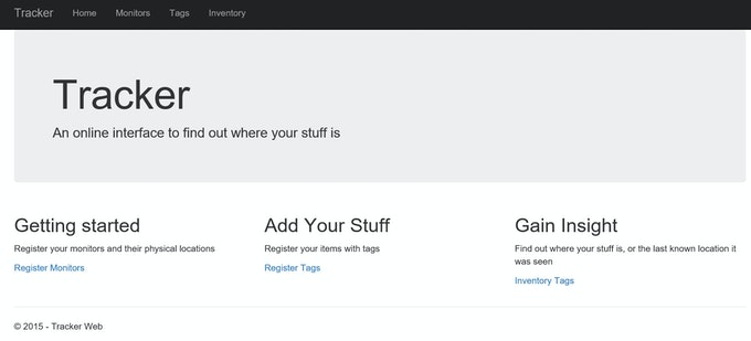 Homepage of the Tracker.Web Application