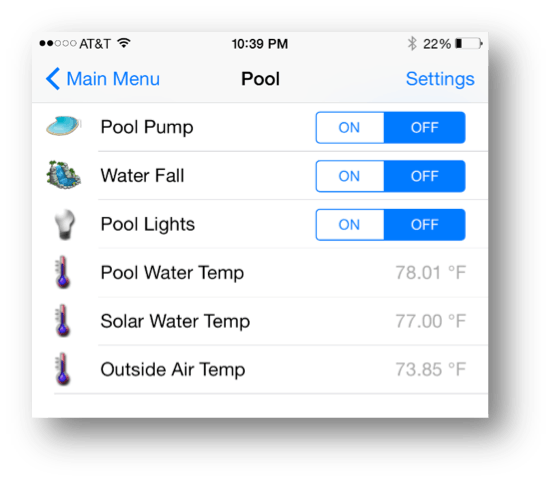 OpenHAB iPhone App communicating with Pool Controller project
