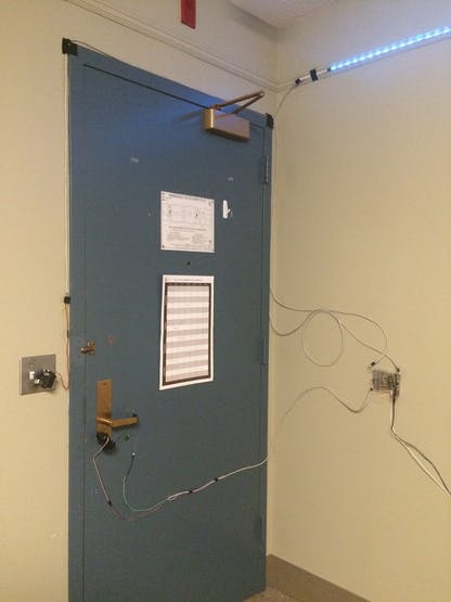 The front door with all of the hardware components.