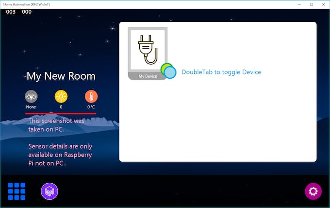 Room will have basic three sensors and devices (added by user)