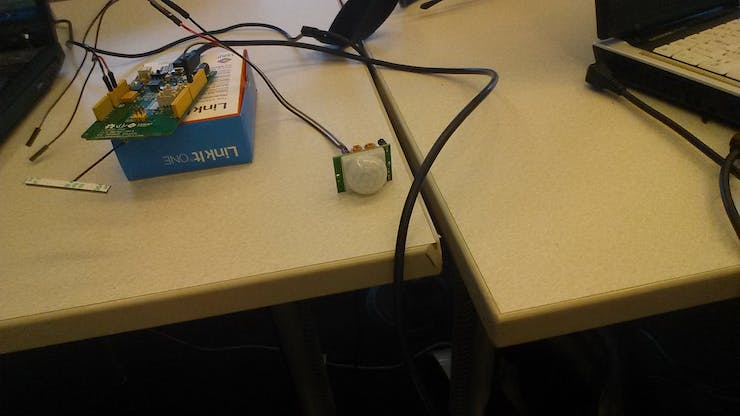 The LinkIt ONE with a PIR Motion Sensor attached to it