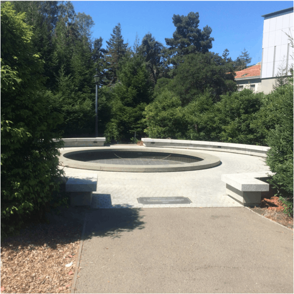 """Memorial """"fountain"""" : no water, no people, no life.... But also, no audience to appreciate our intervention! We thought about putting a mirror in the bottom of this World War II Memorial fountain to promote introspection and return the meaning of a mem..."""