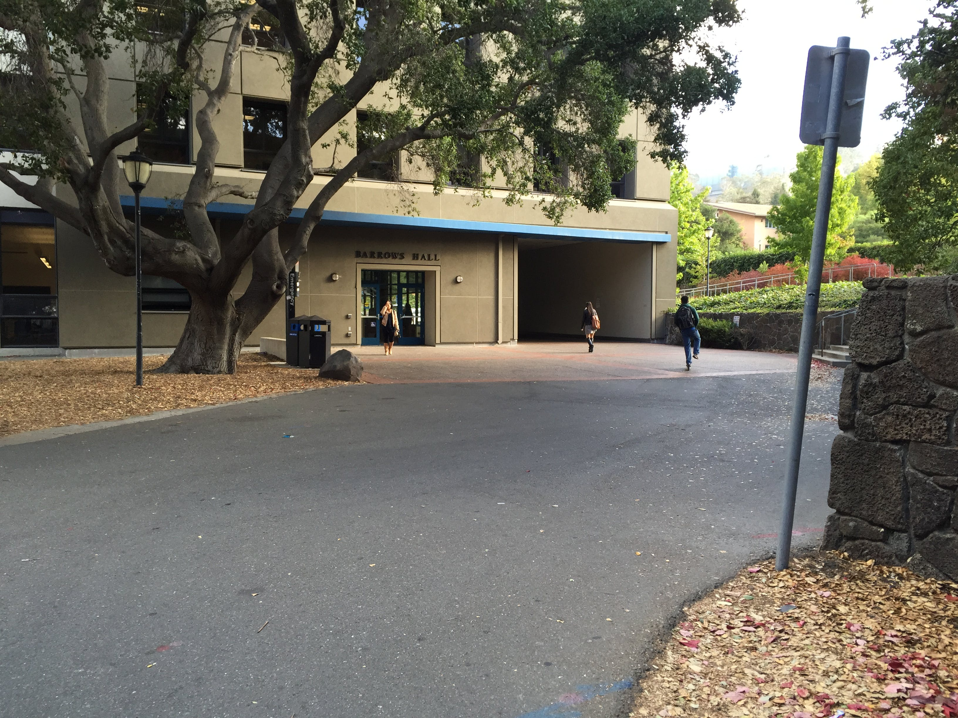 A wider view of the tunnel in relation to the building.