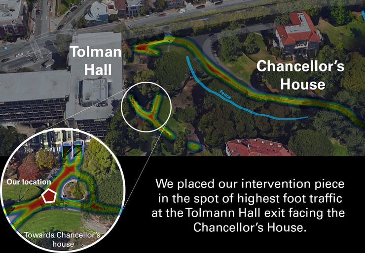 Perspective of location and heat map of foot traffic.