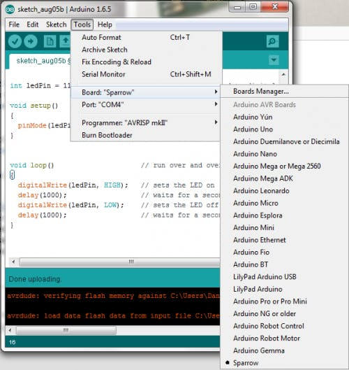 Arduino IDE after adding Sparrow support
