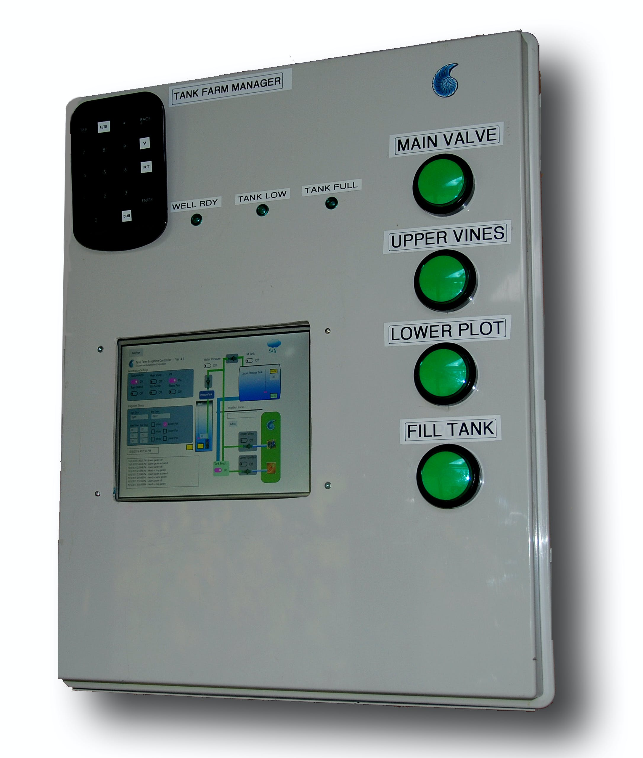Tank Farm pictured with touch screen display add om