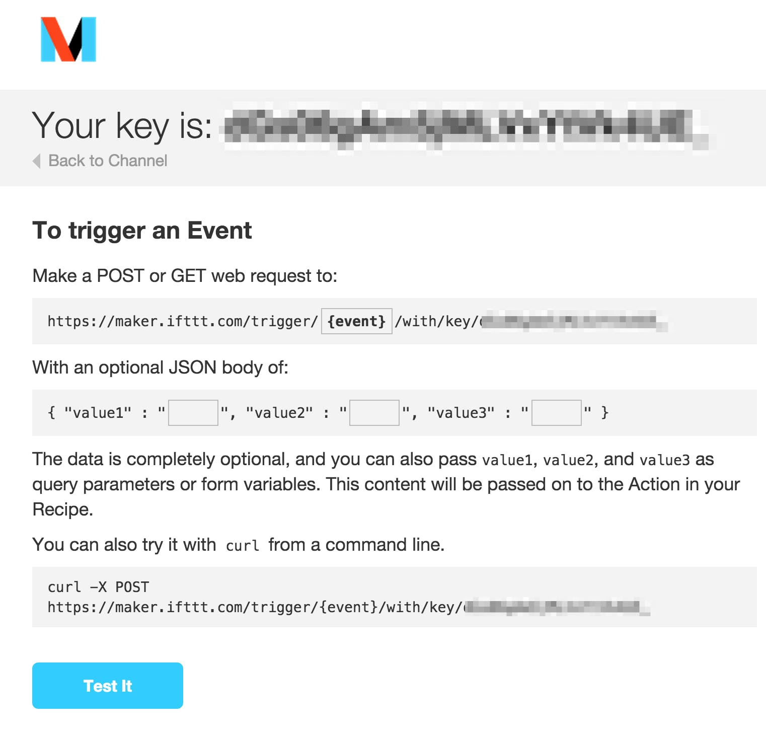 This is the format of the RESTful interface to the IFTTT Maker Channel