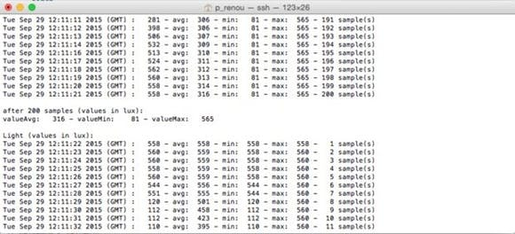 Sample output - sensor values