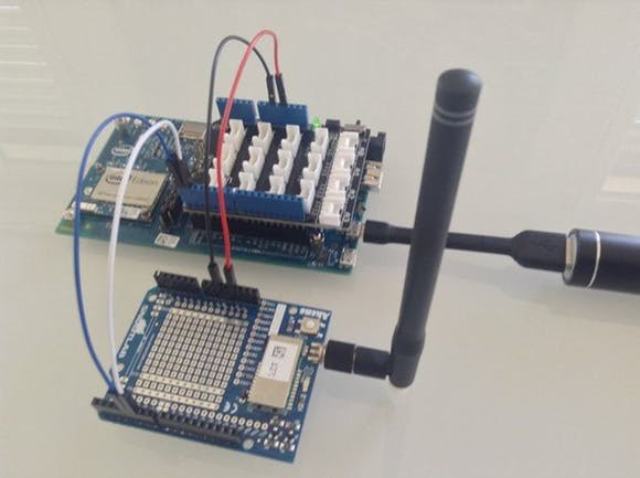 The Akene Shield uses pins 4 & 5 to communicate with the Sigfox module.