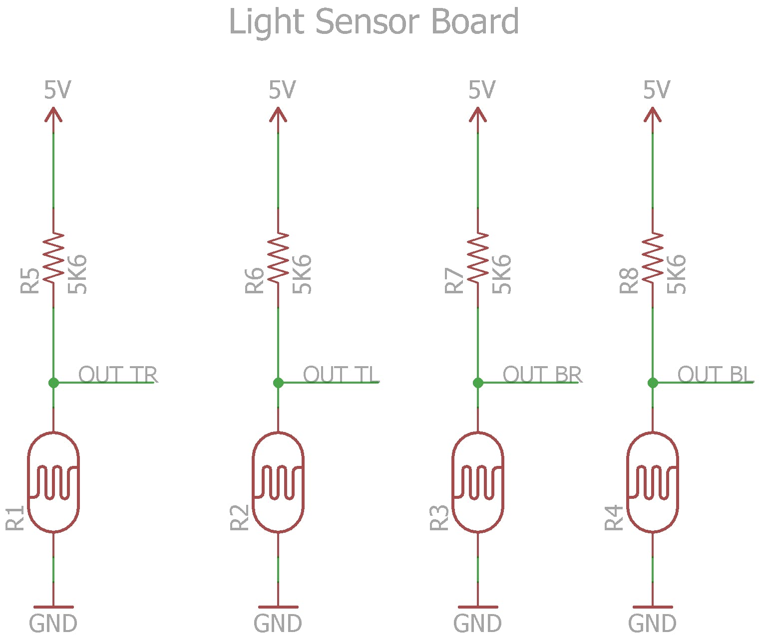 Four Light Dependant Resistors and their voltage dividers