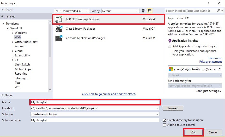 Create ASP.NET Web Application