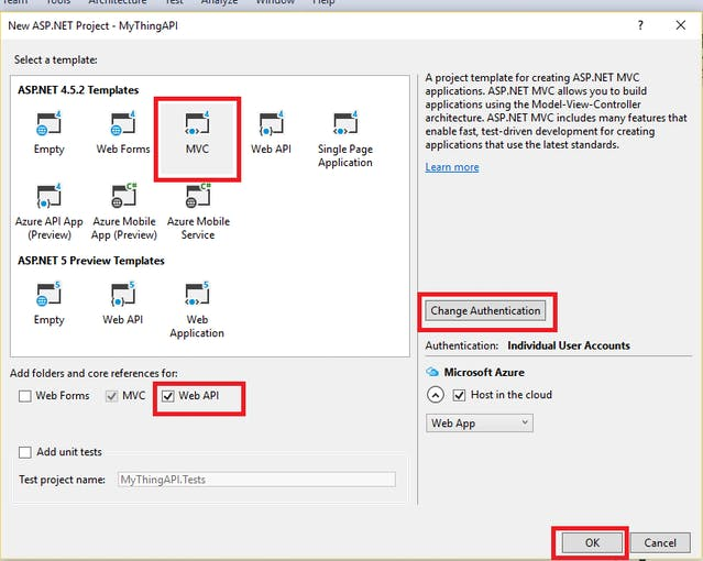 Choose MVC Template and change authentication