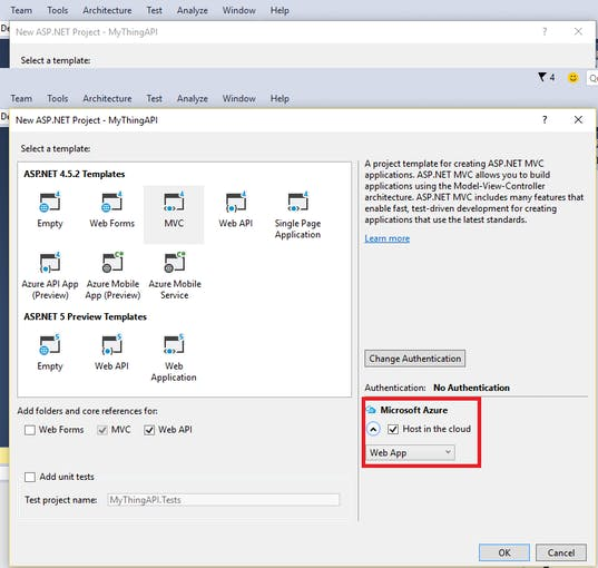Check to host your web application in Microsoft Azure