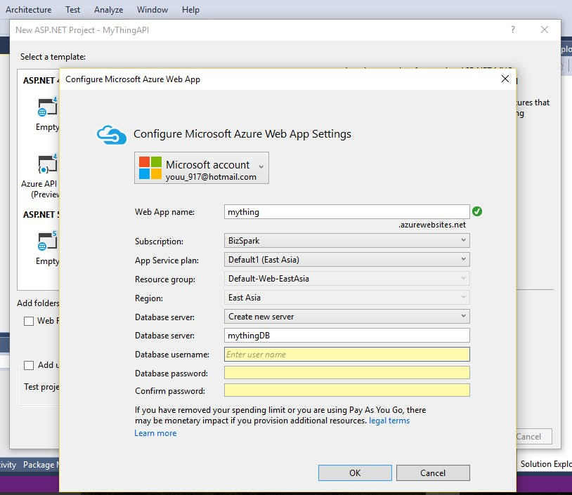fill in all required fields and create WebAPP and database on Azure