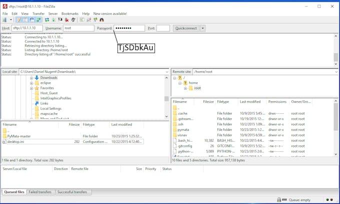 "Host: ""sftp://10.1.1.10""   Username: ""root""  Password: ""TjSDBkAu"