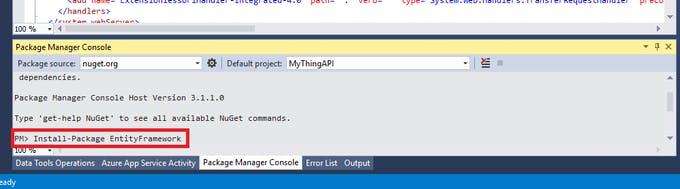 Install entity framework package