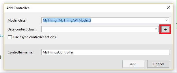 Click on '+' button to create new data context class