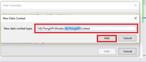 New Data Context Screen, click Add to create the named data context