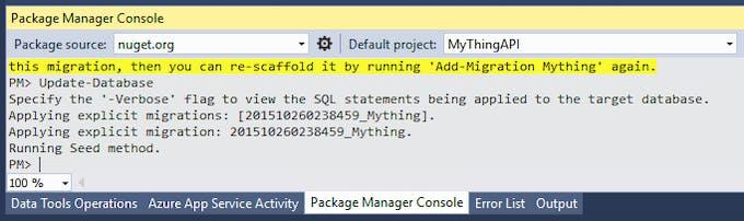 Run Update-Database command