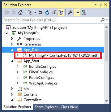 new Database created under App_Data folder