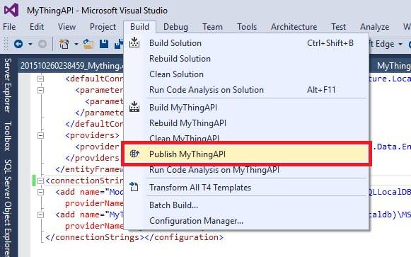 Select Build > Publish MyThingAPI