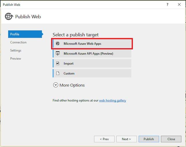 SELECT Microsoft Azure Web Apps