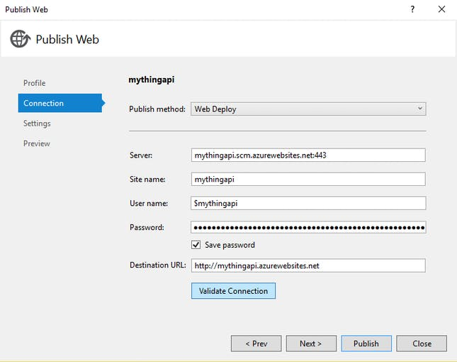 web app connection setting