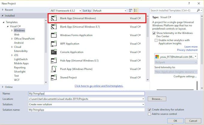 Create Blank App (Universal Windows)