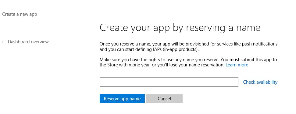 Create App by reserving a name