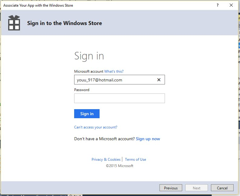 Sign In to the Windows Store