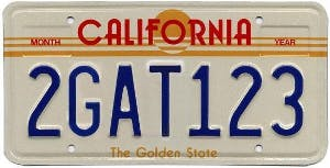 The 1982 license plate design that inspired the title