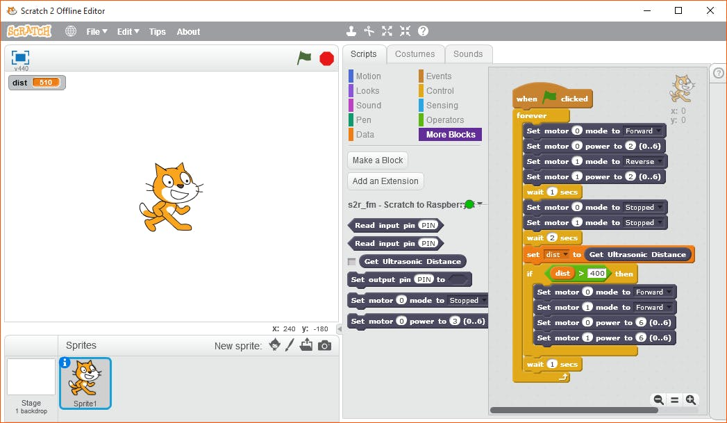 Blocks added to Scratch