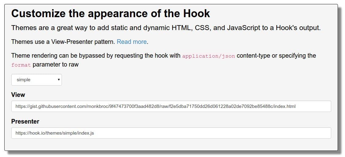 Paste the URL of the raw HTML file into the hook view field
