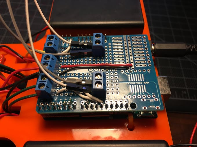 Close-up on Arduino Shield.