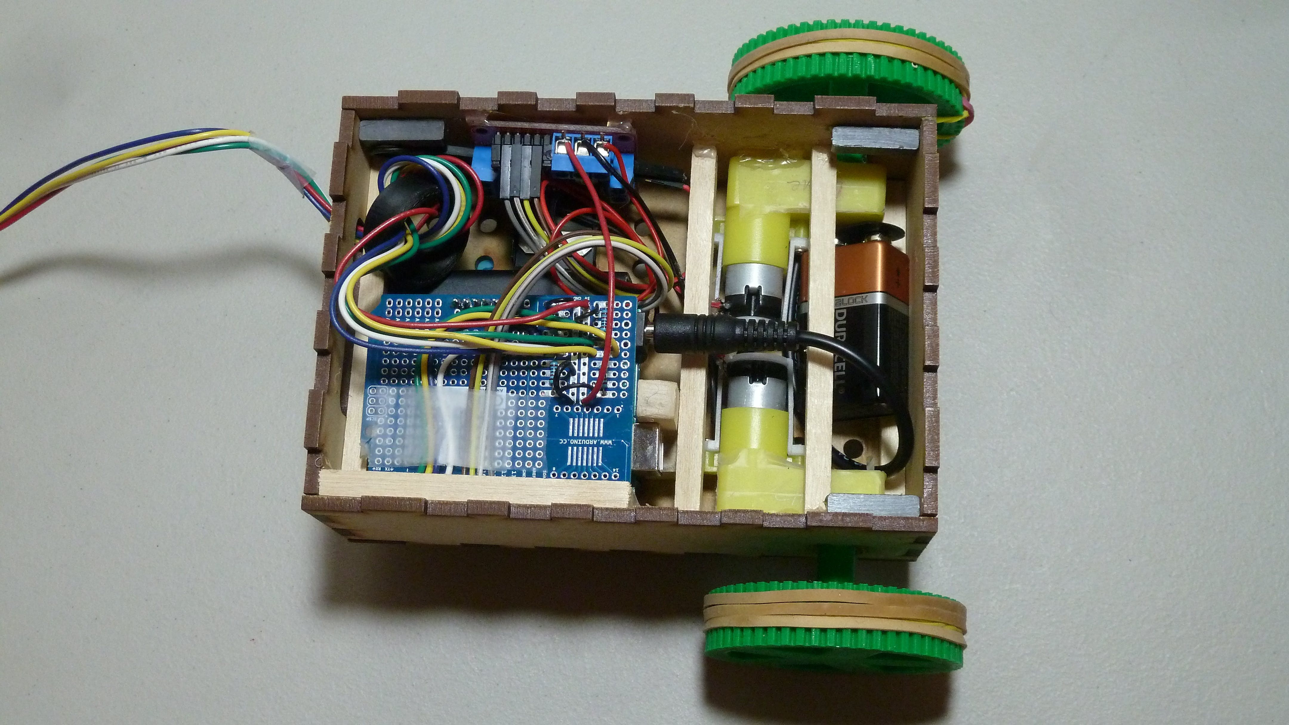 Top-down view of internal components