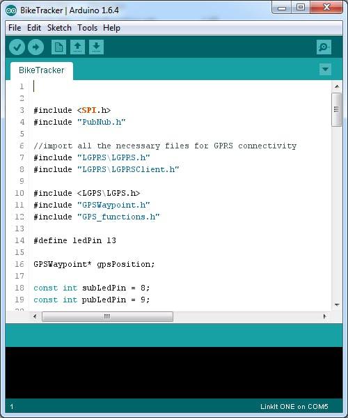 Bike Tracker project in Arduino IDE