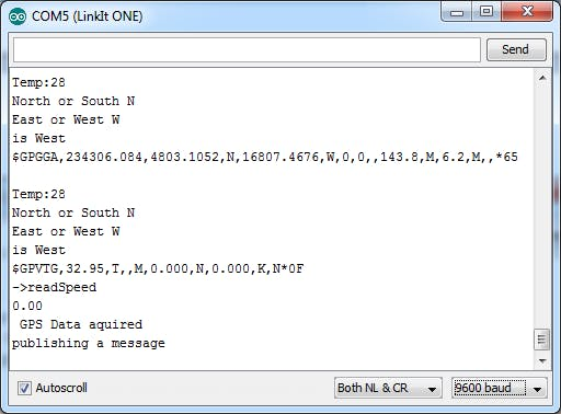 Serial output content of the Bike Tracker example sketch