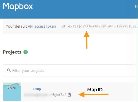Two project identifiers on Mapbox